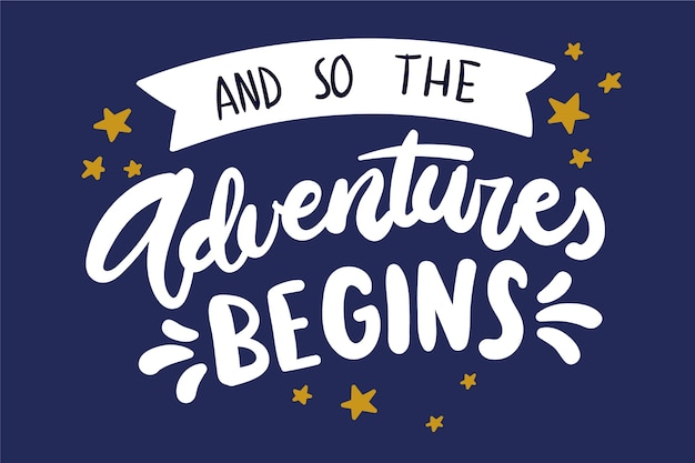 Adventure lettering with stars Free Vector