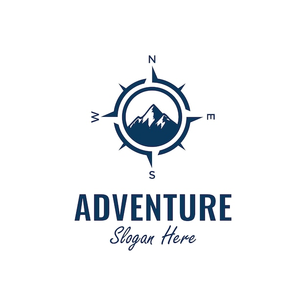 Adventure logo design inspiration with compass and mountain element, Premium Vector