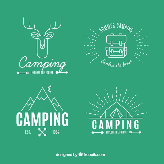 adventure logos in linear style vector free download
