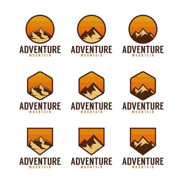 Adventure mountain logo pack Premium Vector