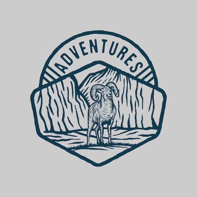 Adventure mountain wild goat nature scene Premium Vector
