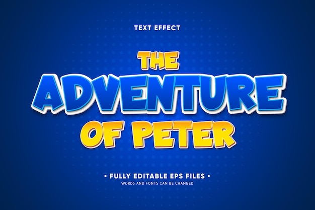The adventure of peter text effect Free Vector