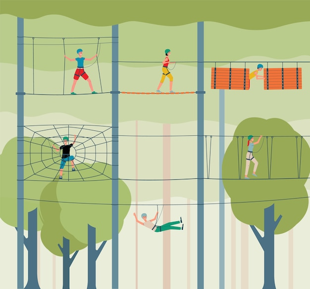 Приключения веревочный парк фон с людьми мультипликационных персонажей, поднимающихся по веревочной лестнице, иллюстрации. спортивные развлечения и концепция экстремальной деятельности. Premium векторы