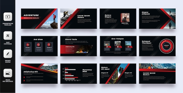 Шаблон слайд-презентации приключения Premium векторы