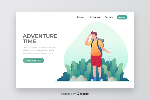 Adventure time landing page with illustration Free Vector