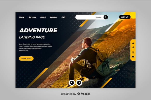 Adventure travel landing page with photo Free Vector