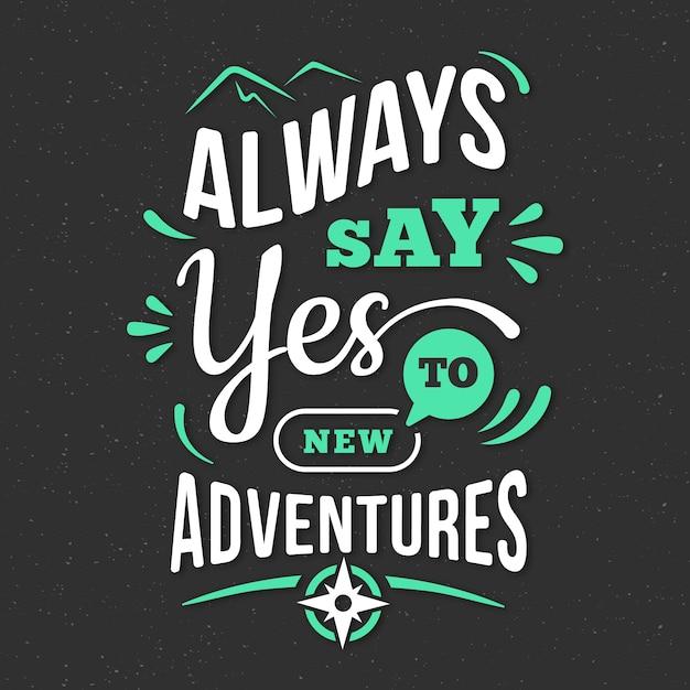 Adventure/travel lettering wallpaper Free Vector