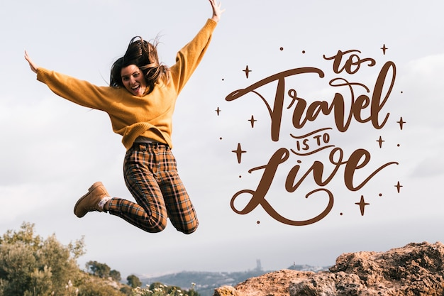 Adventure travel lettering Free Vector