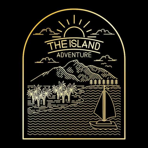 Adventure tropical island line art design Premium Vector