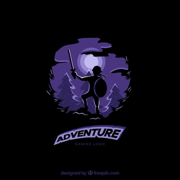 Adventure video game logo template Free Vector