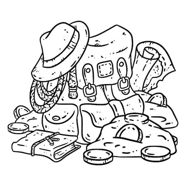Adventurer pack lineart illustration for coloring Premium Vector