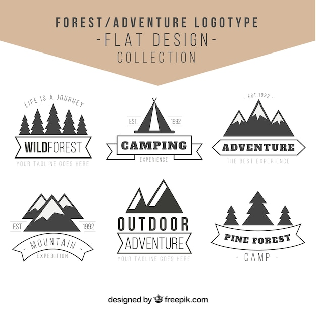 adventures logos in the forest in vintage design vector free download