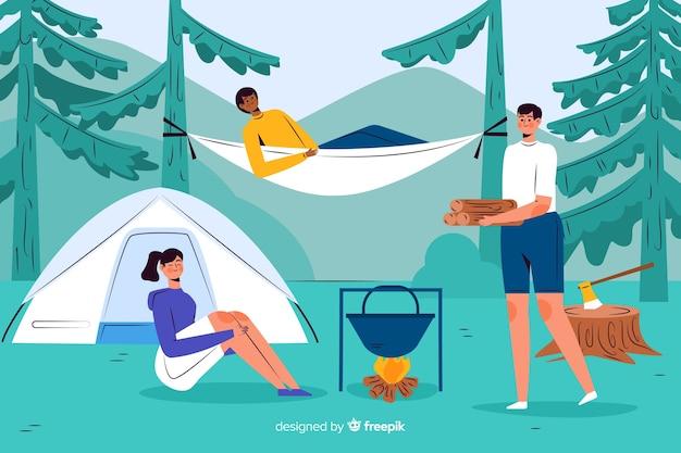 Adventurous people camping flat design Free Vector