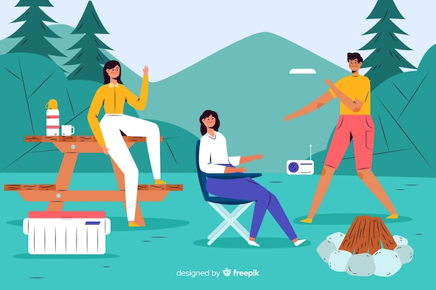 Adventurous people camping flat design Free Vector