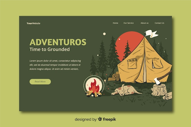 Adventurous travel landing page Free Vector