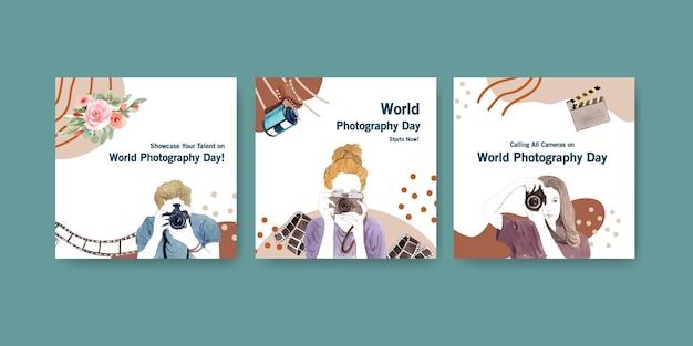 チラシやパンフレットの世界写真デーのテンプレートデザインを宣伝する 無料ベクター