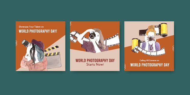 Advertise template design with world photography day for leaflet and brochure Free Vector