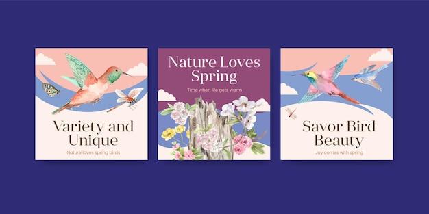 Pubblicizza il set di modelli con uccelli e concetto di primavera Vettore gratuito