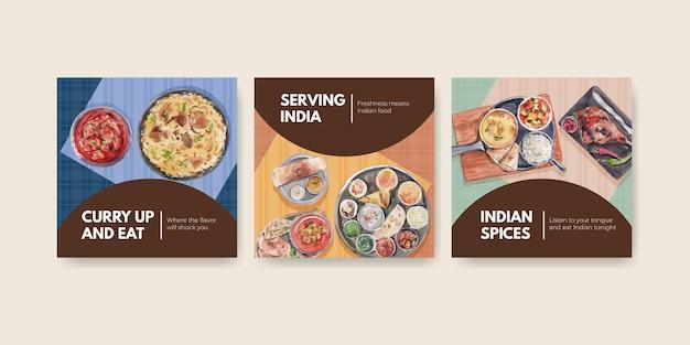 Pubblicizza un set di modelli con cibo indiano Vettore gratuito