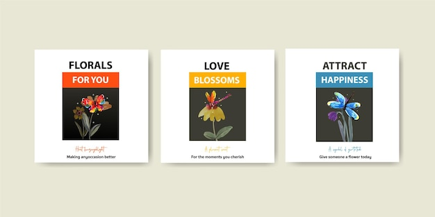 Рекламный шаблон с цветочным дизайном кисти для маркетинга и брошюры акварель Бесплатные векторы