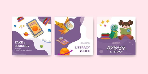 Pubblicizza il modello con il concept design della giornata internazionale dell'alfabetizzazione per il vettore dell'acquerello di marketing aziendale. Vettore gratuito