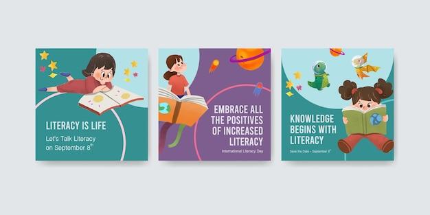 Pubblicizza il modello con il concept design della giornata internazionale dell'alfabetizzazione per l'acquerello di marketing aziendale. Vettore gratuito