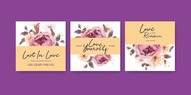 Pubblicizza il modello con amore che sboccia concept design per affari e marketing illustrazione dell'acquerello Vettore gratuito