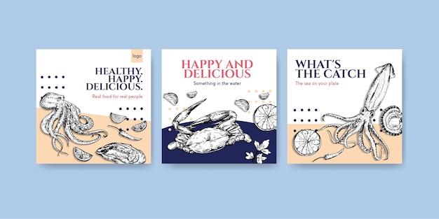 Pubblicizza il modello con il concept design dei frutti di mare per l'illustrazione di marketing Vettore gratuito