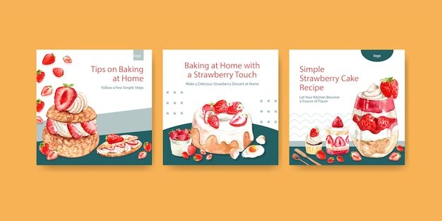 Advertise template with strawberry baking design for brochure with cupcake, cheesecake and shortcake watercolor illustration Free Vector