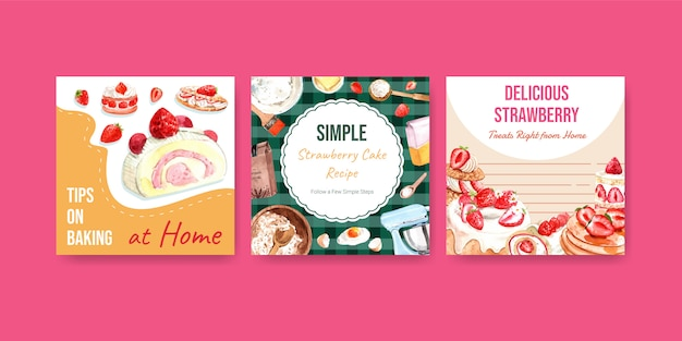Advertise template with strawberry baking design for brochure with strawberry crepes, waffles, shortcake parfait, pancakes, jelly roll and delight cheesecake watercolor illustration Free Vector