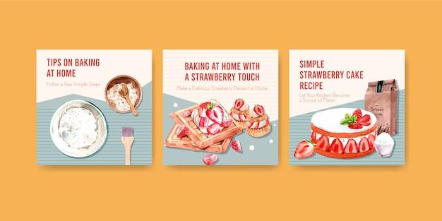 Рекламируйте шаблон с клубничным дизайном для выпечки с ингредиентами, клубничными вафлями, песочным парфе и кремовой ганашевой акварелью. Бесплатные векторы