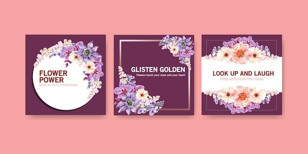 夏の花のデザインの水彩画とテンプレートを宣伝します。 無料ベクター