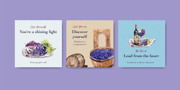 Рекламируйте шаблон с концептуальным дизайном винной фермы для маркетинговой акварельной иллюстрации. Бесплатные векторы