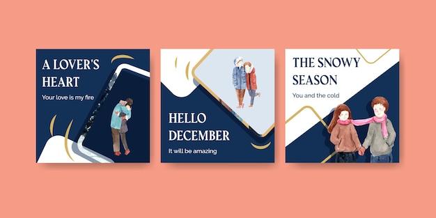 Pubblicizza il modello con il concept design di amore invernale per brochure e illustrazione vettoriale dell'acquerello di marketing Vettore gratuito