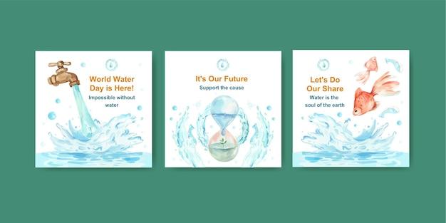 Pubblicizza il modello con il concept design della giornata mondiale dell'acqua per l'illustrazione dell'acquerello di affari e marketing Vettore gratuito