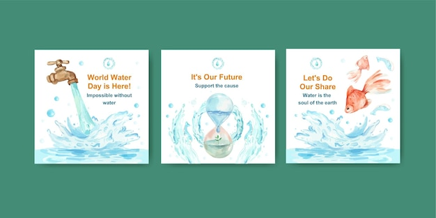 ビジネスとマーケティングの水彩イラストのための世界水の日のコンセプトデザインでテンプレートを宣伝する 無料ベクター