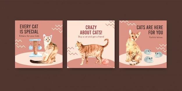고양이와 템플릿 광고 무료 벡터