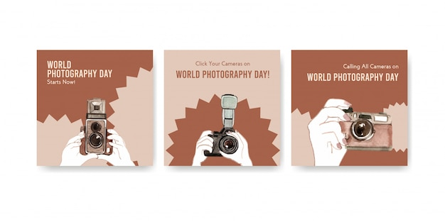 Advertise templates for world photography day Free Vector