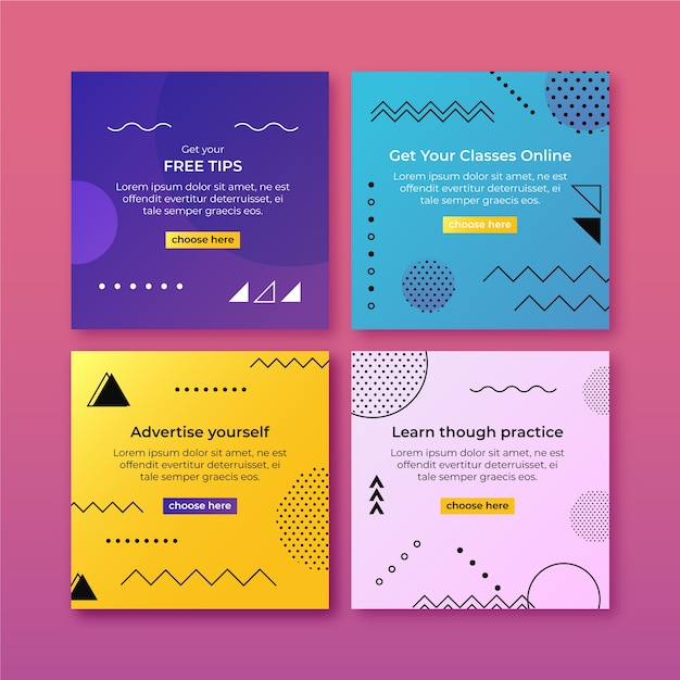 Advertise yourself tips instagram post collection Free Vector