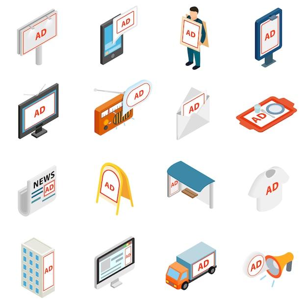 Advertisement icons set in isometric 3d style Premium Vector
