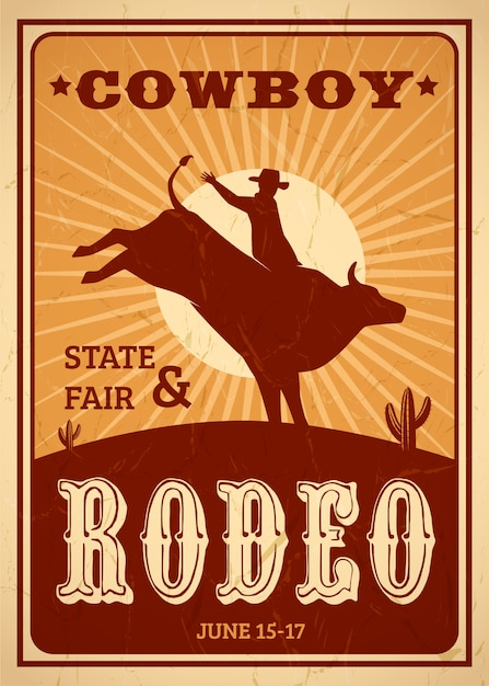 Advertisement rodeo poster in retro style with cowboy riding wild horse Free Vector