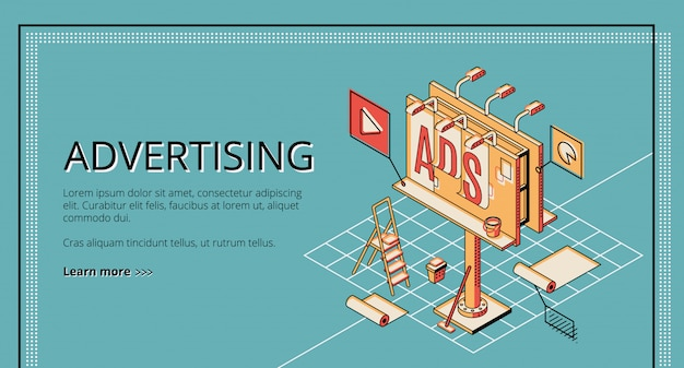 Advertising agency, digital marketing company, online promotion service isometric web banner Free Vector