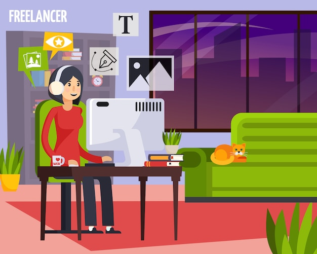 Advertising agency freelancer working home orthogonal composition with girl behind desktop creating ads layout designs illustration Free Vector