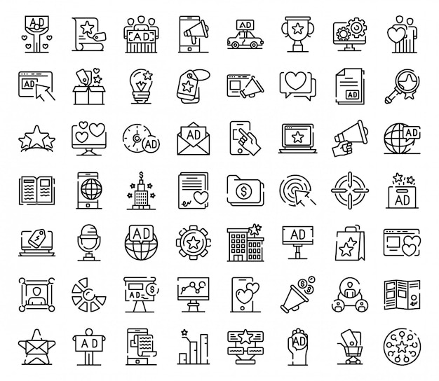 Advertising agency icons set, outline style Premium Vector