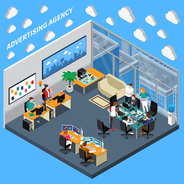 Advertising agency isometric composition Free Vector