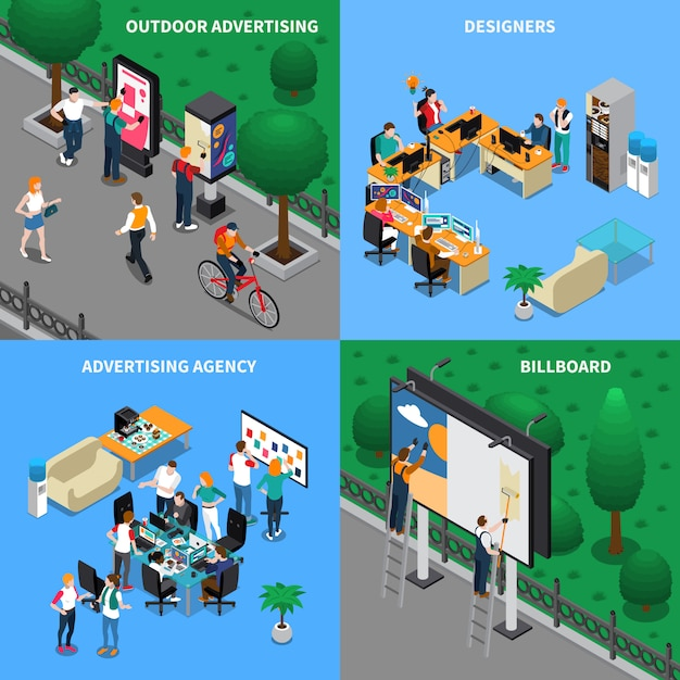 Advertising agency isometric concept Free Vector