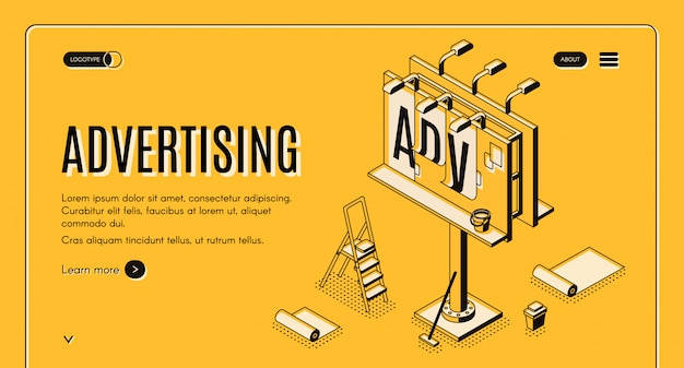 Advertising agency isometric vector web banner Free Vector