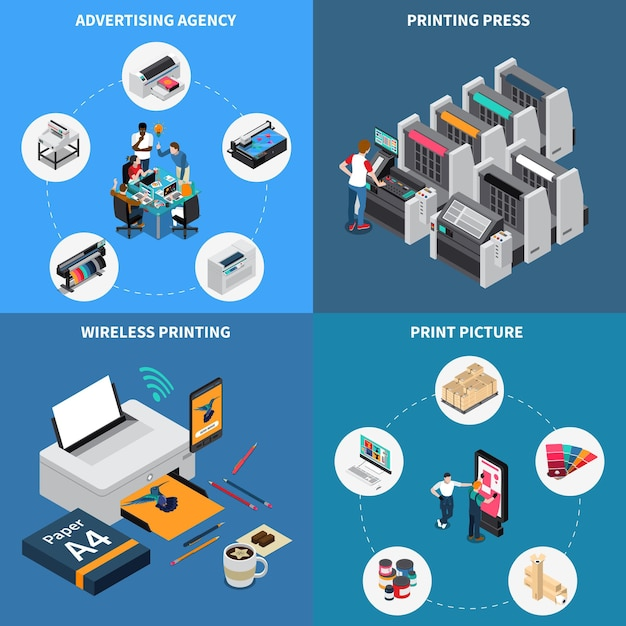Advertising agency printing house concept 4 isometric compositions with digital technology creating pictures press device Free Vector