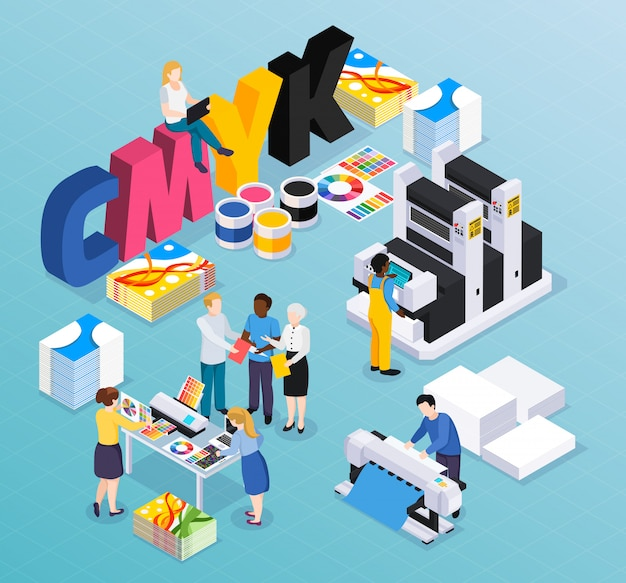 Advertising agency printing house isometric composition with customers designers workers producing colorful press ads material illustration Free Vector