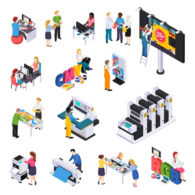 Advertising agency production isometric elements set with ads designers presentations printing cutting installation on billboard Free Vector